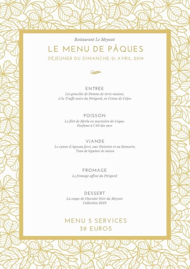Restaurant le Meysset - Pâques édition 2019 au restaurant Le Meysset