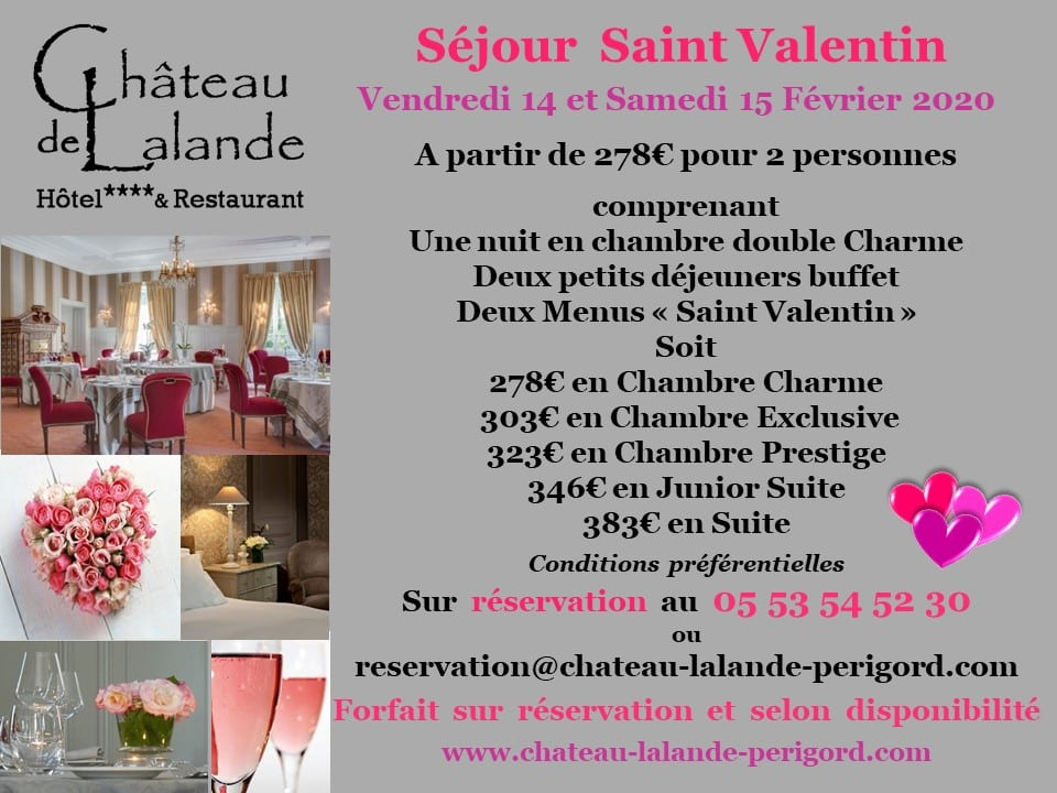 Votre séjour en amoureux au Château de Lalande pour la Saint Valentin
