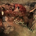 Scène de vie préhistorique des Grottes du roc de Cazelle
